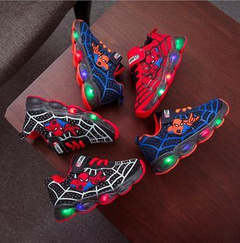 Led luminous Spiderman dzieci buty dla chłopców dziewcząt lekkie dzieci Luminous dziecięce trampki mesh sport chłopiec dziewczyna Led lekkie buty tanie i dobre opinie Disney 25-36m 3-6y 13-24m 7-12y CN (pochodzenie) Cztery pory roku Unisex RUBBER Pasuje prawda na wymiar weź swój normalny rozmiar