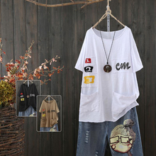 Summer New Arts Style Women O-neck Short T Shirt Letter Embroidery Loose Tshirt