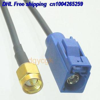 """DHL 50pcs  Fakra SMB female C 5005 bule to SMA male plug RG174 Jumper pigtail 6"""" cable 22j"""