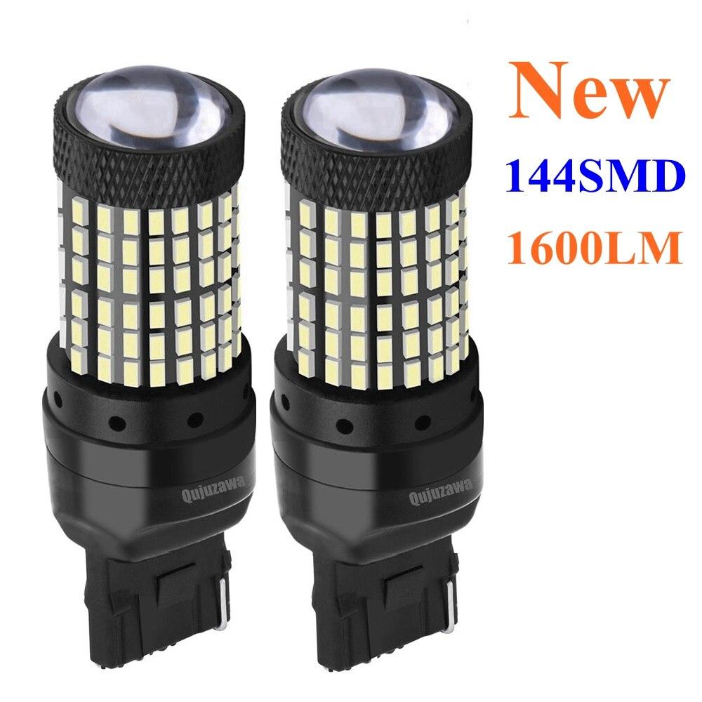 2 pçs t20 w21w 7440 wy21w super brilhante 1600lm led carro reverso luz da cauda lâmpada de freio auto luz circulação diurna estacionamento traseiro lâmpada