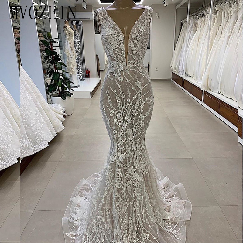MVOZEIN Mermaid Wedding Dress 2020 Diamond Embroidery V-Neck Sleeveless Ivory Wedding Dresses Bridal Gowns Vestido De Noiva