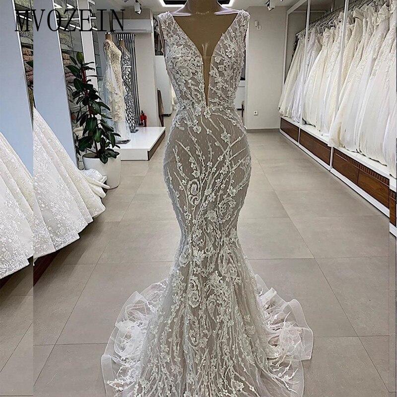 MVOZEIN Sexy Mermaid Wedding Dress 2019 Lace Deep V-Neck Sleeveless Lace Ivory Wedding Dresses Bridal Gowns Vestido De Noiva