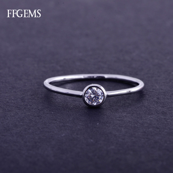 FFGems Real 10K Gold Ring Sterling Diamond 0.1ct GH Si Fine Jewelry For Women Lady Engagement Wedding Party Gift image