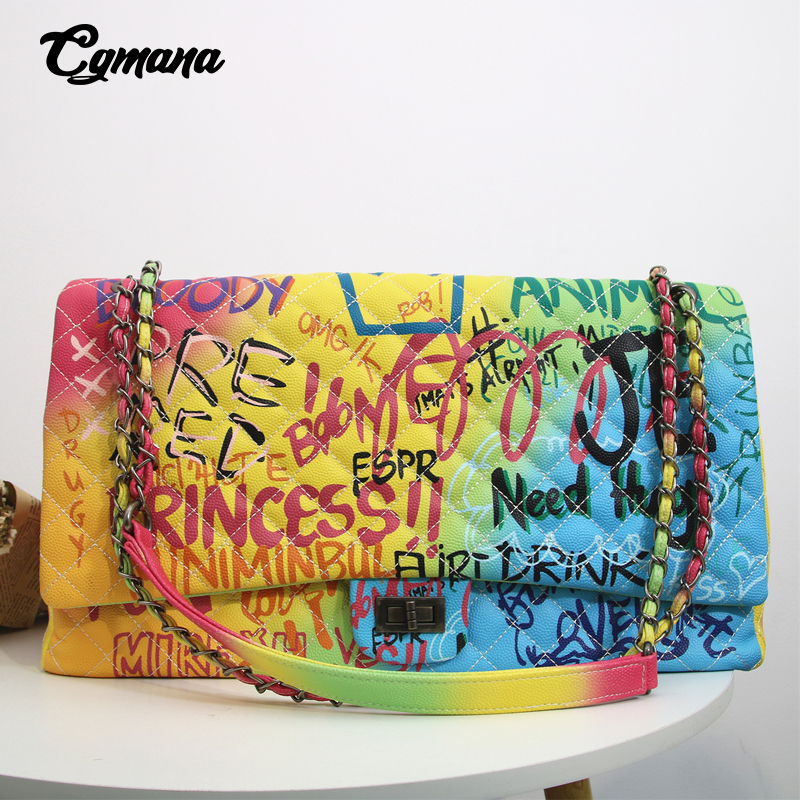 CGmana Women Bag 2018 New Color Graffiti Printed Shoulder Big Bags Fashion Large Travel Bags Women Brand Luxury Chain Handbags