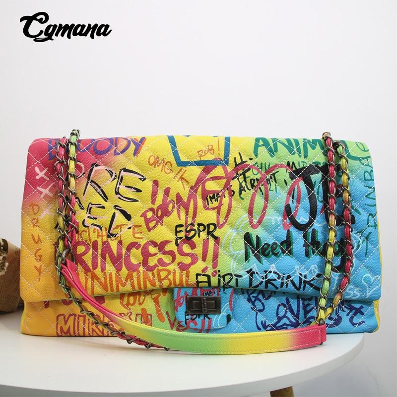 CGmana Women Bag 2019 New Color Graffiti Printed Shoulder Big Bags Fashion Large Travel Bags Women Brand Luxury Chain Handbags