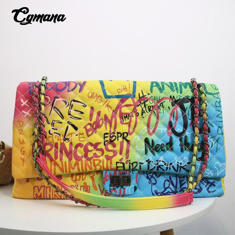 CGmana femmes sac 2019 nouvelle couleur Graffiti imprimé épaule grands sacs de mode grands sacs de voyage femmes marque de luxe chaîne sacs à main