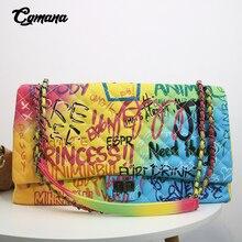 CGmana torebki damskie 2020 nowe kolorowe Graffiti drukowane na ramię duże torby moda duże torby podróżne kobiety marka luksusowe torebki łańcuchowe