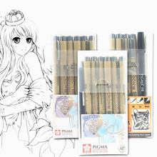 Sakura długopis Pigma Micron Neelde miękka szczotka pióro do rysowania wiele 005 01 02 03 04 05 08 1 0 szczotka Art markery tanie tanio NoEnName_Null Pojedyncze (AE存量)* 7 Luźne