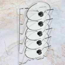 Pan-Lid-Rack Rack-Holder Kitchen-Storage Cooking-Tools for Pot Lids 5-Layer Wall/door-Mounted