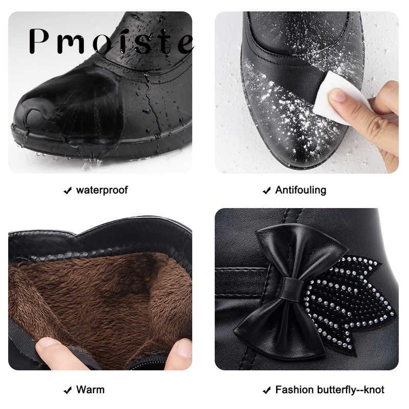 נשים חורף נעלי bow-קשר שלג מגפי נשים עמיד למים בפלאש קרסול מגפי טריזי פיצול עור zip botines mujer 2020
