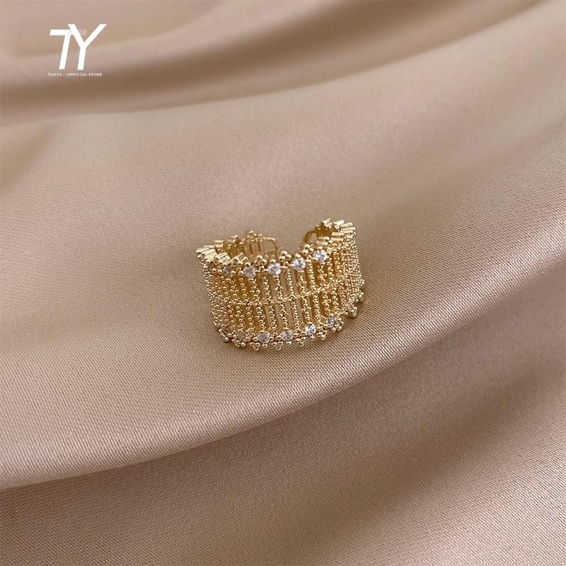 Metall Übertrieben Hohl Mesh Intarsien Zirkon Gold Offene Ringe Für Frau 2020 Neue Mode Luxus Koreanische Schmuck Hochzeit Party Ring