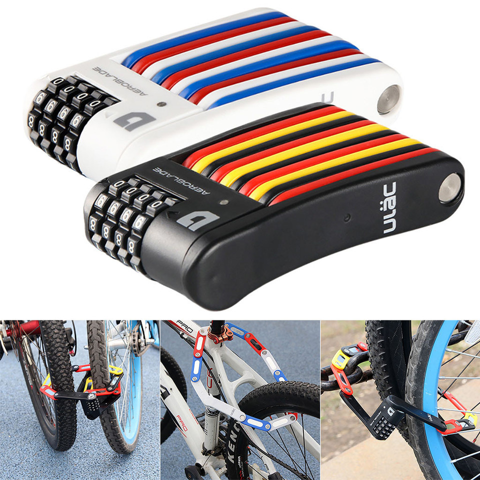 Bycicle Bike Lock 4-Digital Anti Theft Password Cable Lock Heavy Duty Security