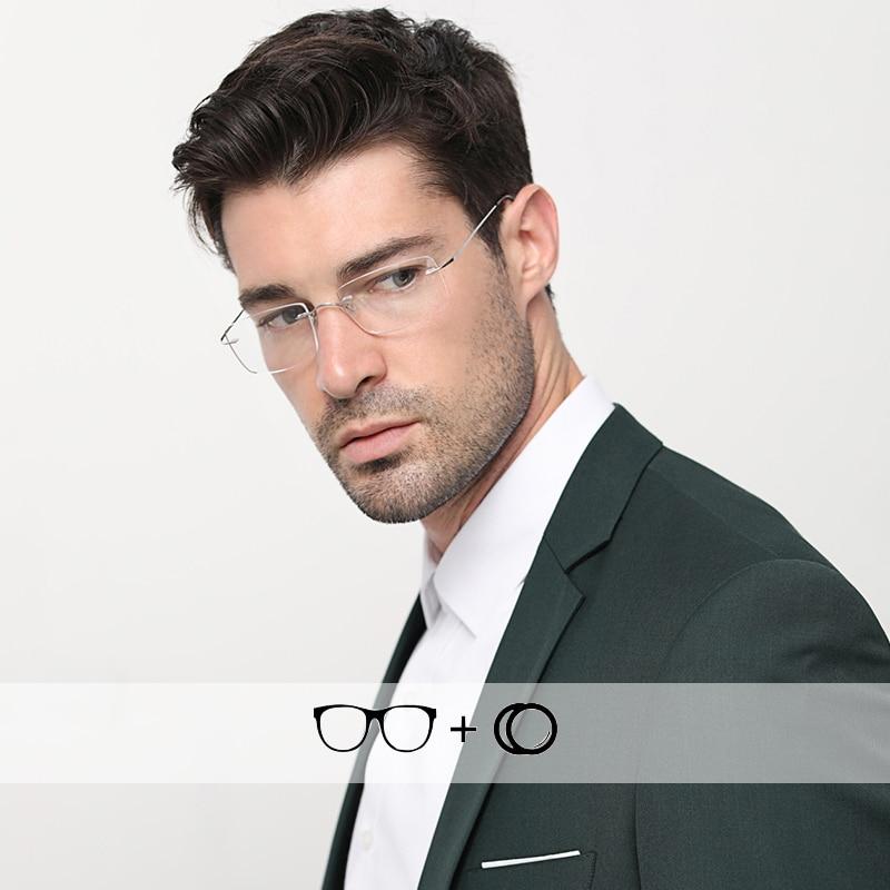 Titanium Diopter Glasses For Sight Men's Rimless Prescription Photochromic Male Grade Reading Progressiva Eyeglasses #CT001