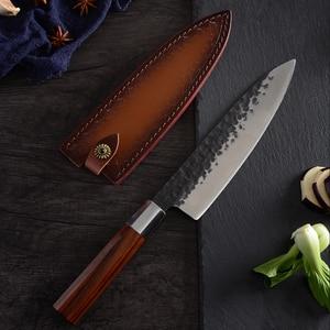 Image 2 - QING High Quality Stainless Steel Forged Knives Hammer Blade Kiritsuke / Chef / Santoku / Nakiri Kitchen Cleaver Cooking Tool