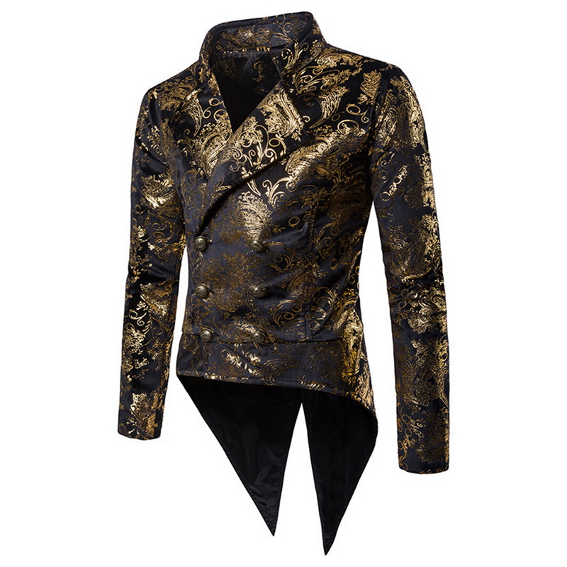 Nice Men Sequin Blazer Sexy Split Irregular Skinny Mens Blazer Jacket Casual Turn-down Collar Fashion Floral Suits&Blazer