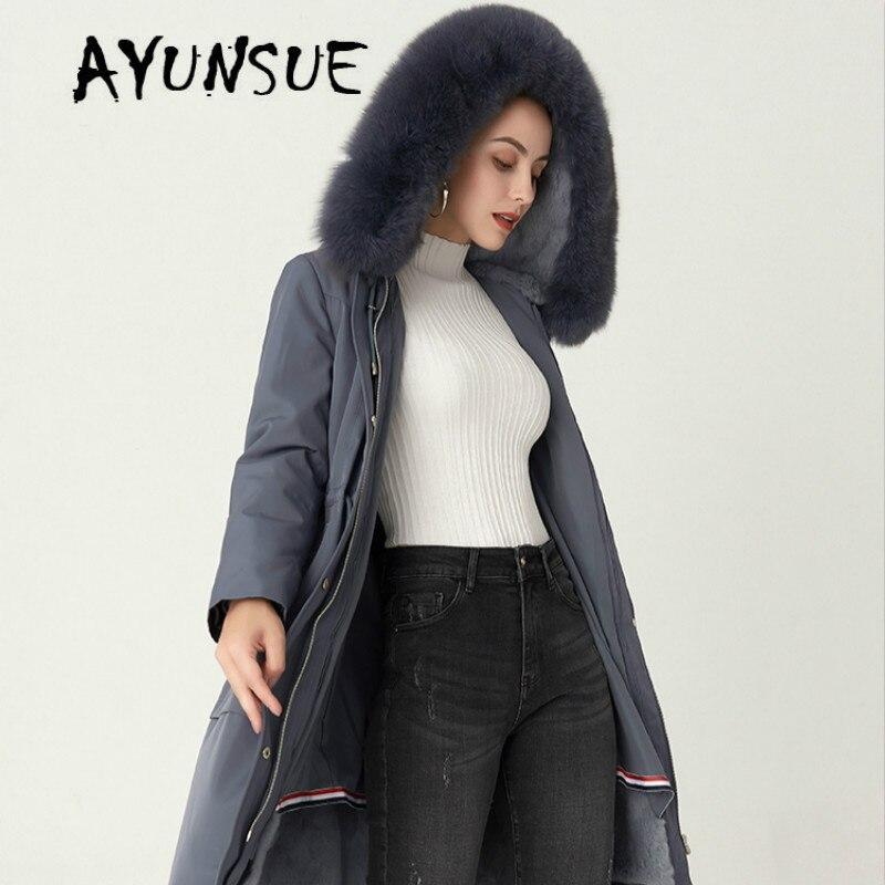 AYUNSUE пальто с натуральным мехом Женское пальто с мехом кролика Рекс женская Корейская настоящая меховая парка с капюшоном теплое зимнее пал...