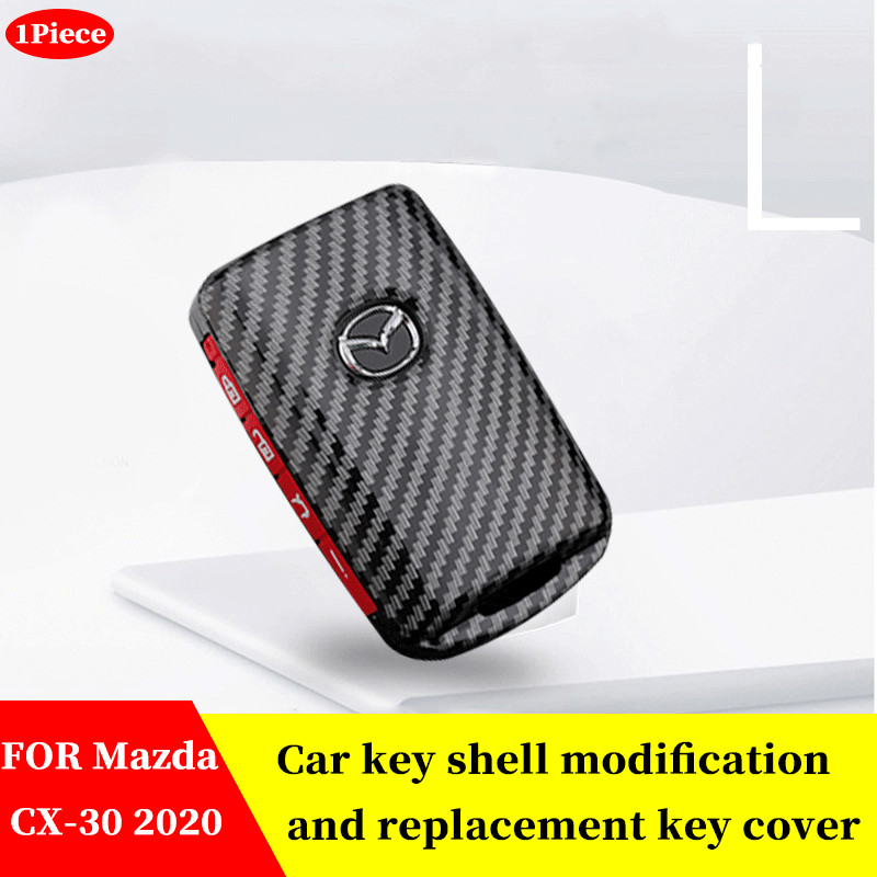 FOR Mazda CX-30 CX30 2020 Car Carbon fiber black Key Case Shell Cover Car Key Chain Key Cover  Dedicated Accessories