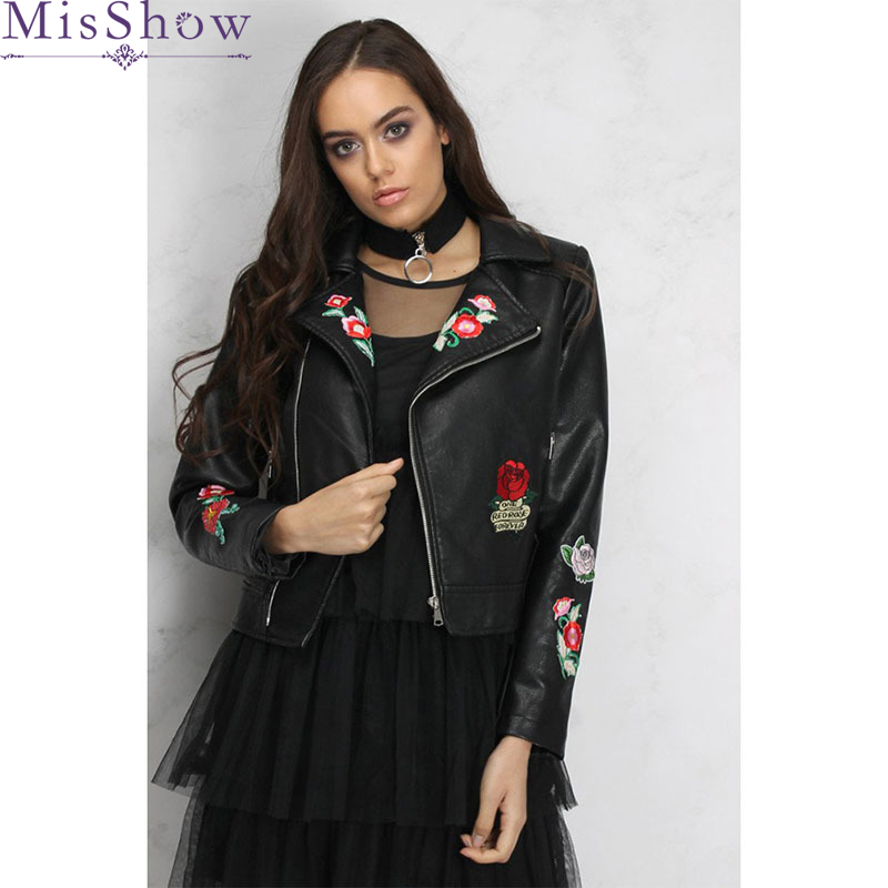 Floral Embroidered Women   Jacket   Fashion Black 2019 Women Coat Casual Autumn   Jackets   Loose Women Coats With Zipper   Basic     Jackets