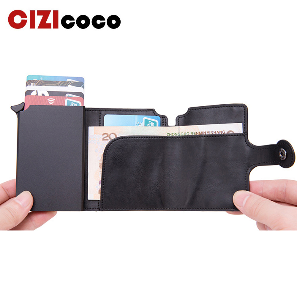 Men RFID Button Credit Card Holder High Quality Metal Aluminum Auto Pop-up RFID ID Card Case Black Wallet Coin Purse