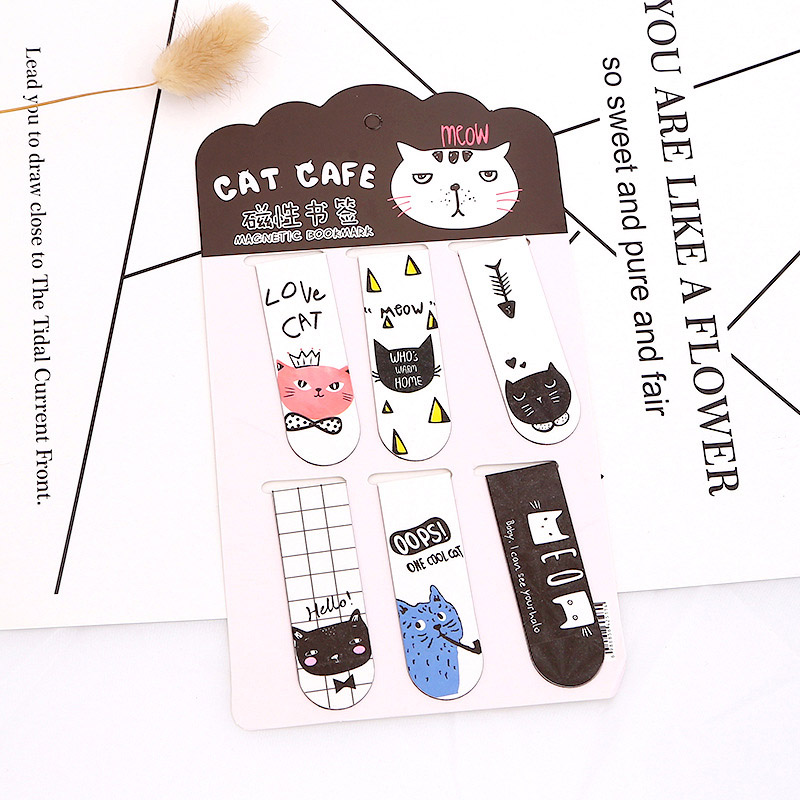 6Pcs Cute Metal Bookmarks Kawaii Cat Cactus Bookmarks Novelty Magnetic Book Marks For Kids Girls Gifts School Office Stationery
