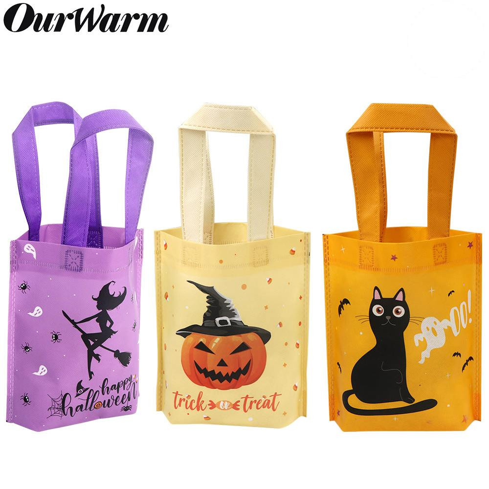 OurWarm 6Pcs Halloween Trick Or Treat Bags With Handle Pumpkin Cat Halloween Candy Bag Sacks For Kids Non-woven Gift Pouches
