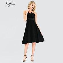 New Sexy Black Short Women Dress A-Line Strapless Knee-Length Cheap Fashion Ladies Night Club Party Jurken Zomer 2019