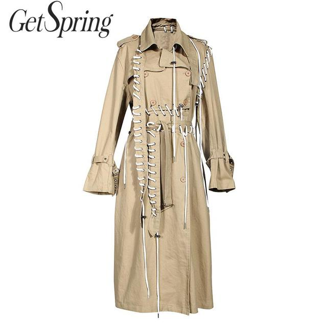 $ US $50.15 GETSPRING Women Trench Coat Drawstring Bandage Long Trench Coats Patchwork Irregular Khaki Long Overcoat Autumn Winter 2019 New
