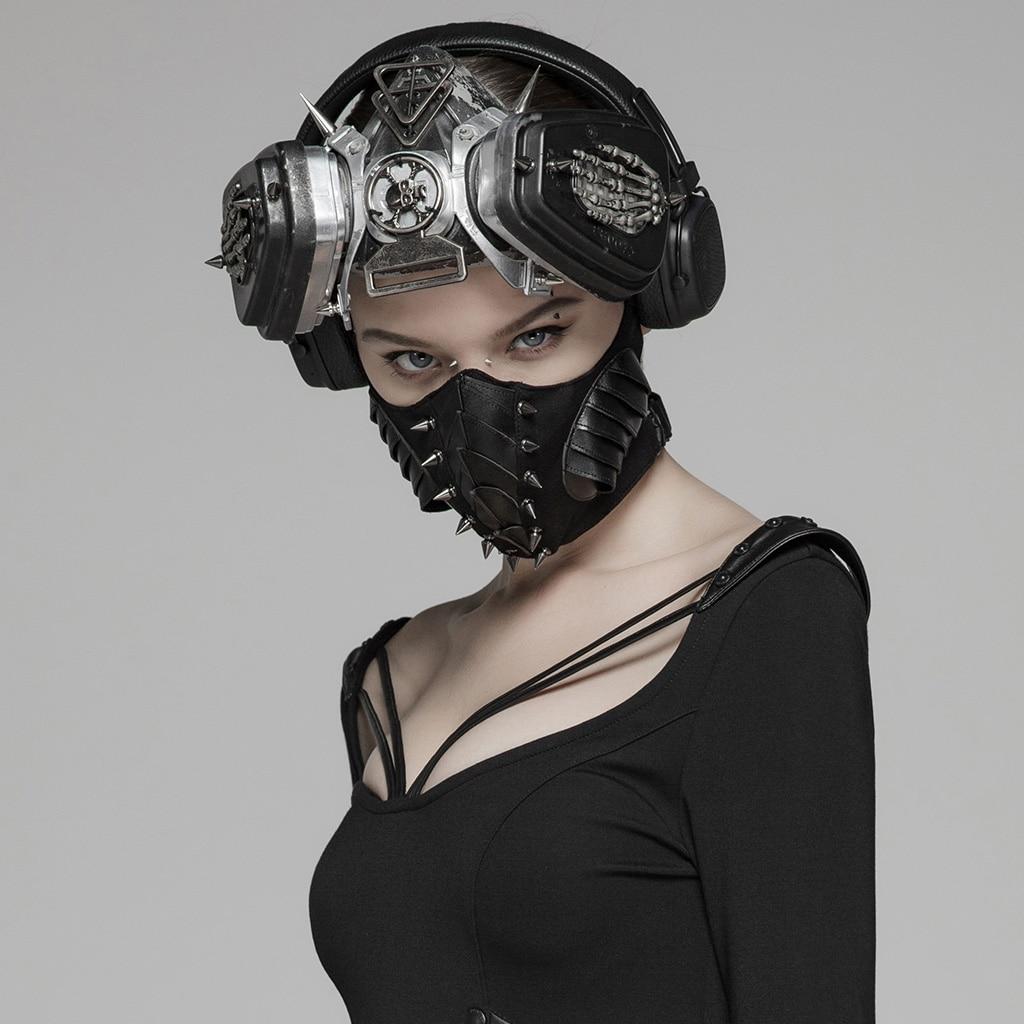 PUNK RAVE Women's Punk Dark Mask PU Sharp Nail Elastic Knit Mesh Breathable Personality Stage Performance Mask