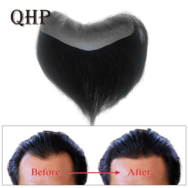 Men Toupee 4.5x15.5cm 100% India Human Hair Piece For Mens V Loop Toupee Wig 6