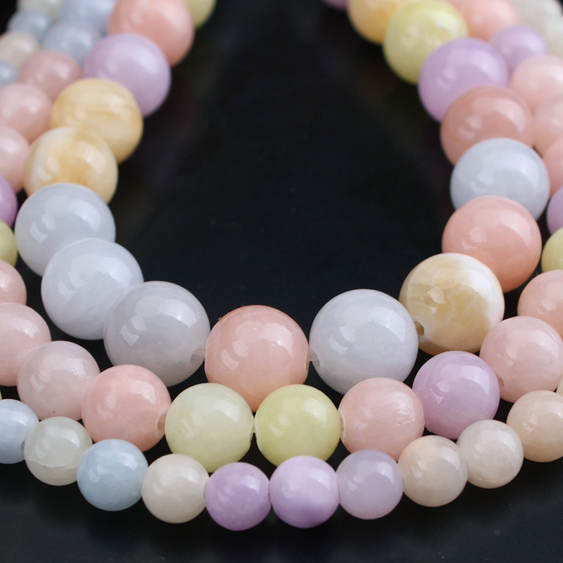 Natural Stone Morganite Color Chalcedony Beads Round Loose Beads 6mm 8mm 10mm For DIY Necklace Bracelet Jewelry Making