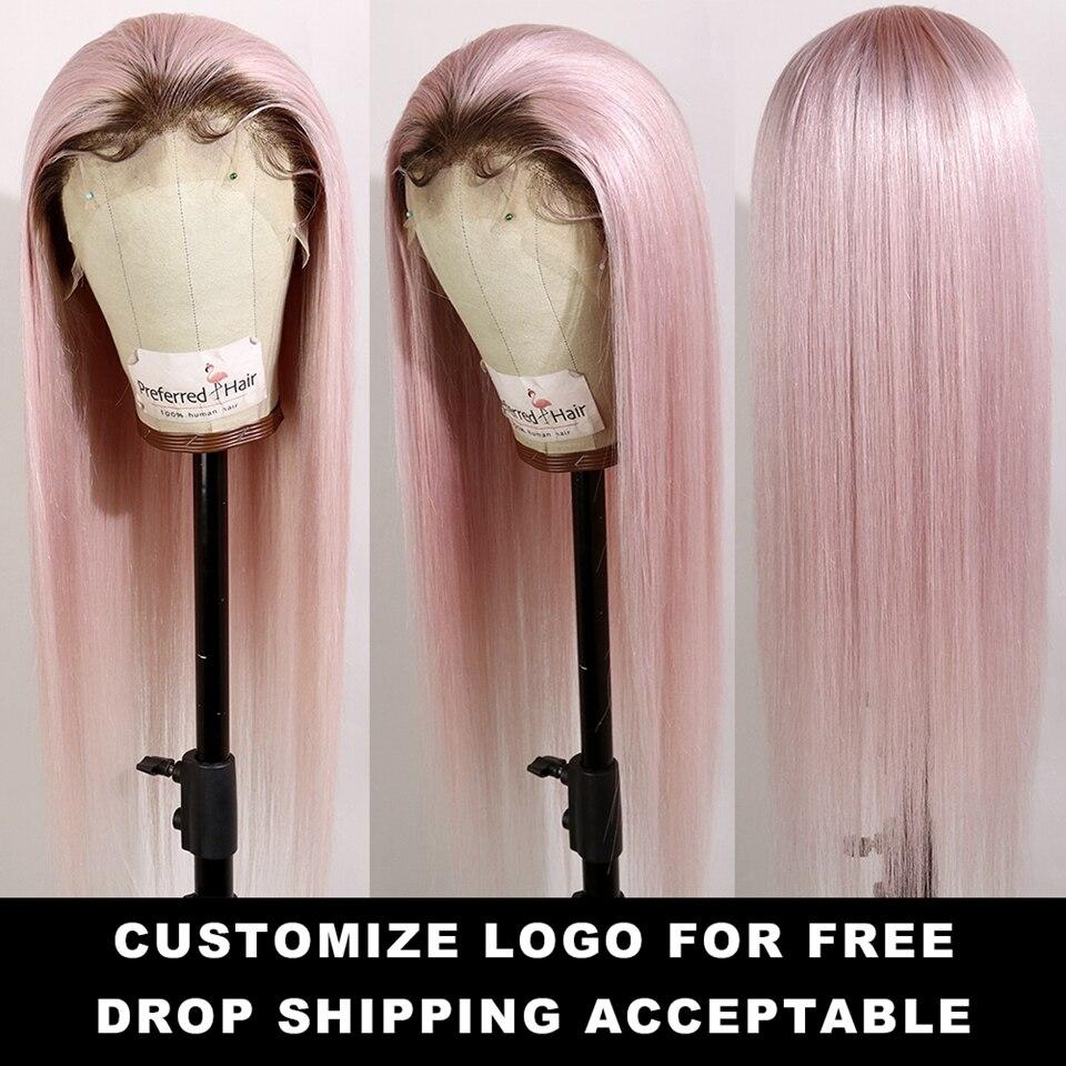 Предпочтительный Омбре розовый человеческие волосы парик Фиолетовый прямой кружевной передний парик с детскими волосами бразильские Remy прозрачные кружевные парики для женщин - 2