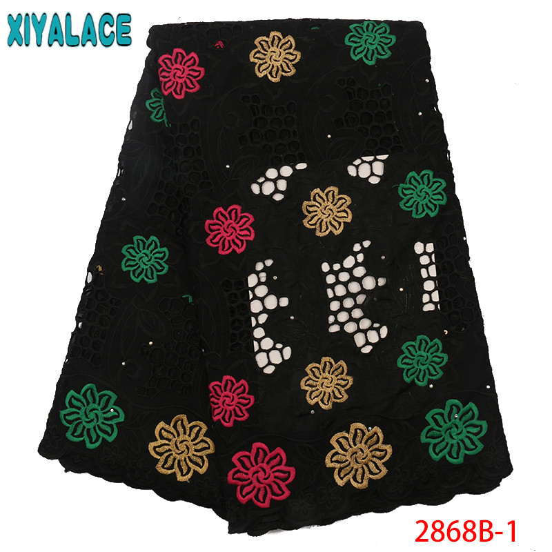 Latest Black Guipure Cord Lace Fabrics African Cotton Lace Fabric Water Soluble Dress Lace With Stones For Women KS2868B-1
