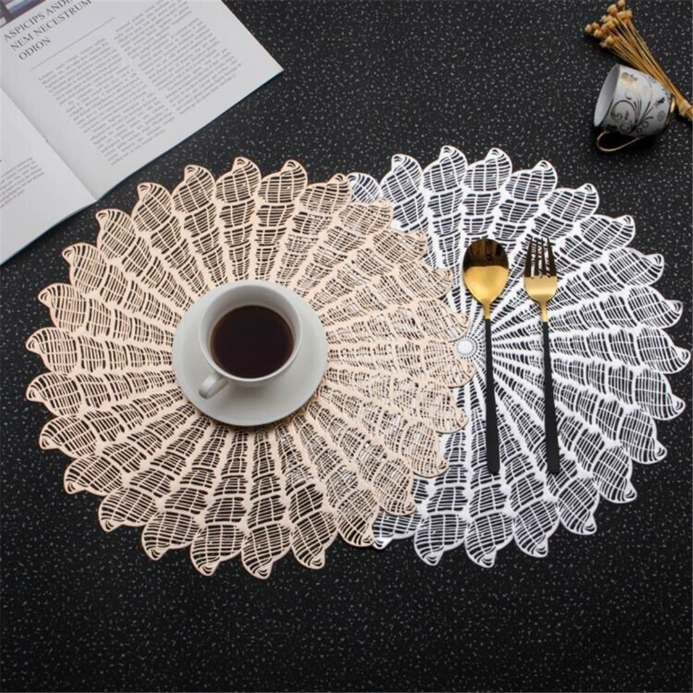 Placemat For Dining Table Coasters Round PVC Hollow Heat insulated Tableware Mats Rose Gold Non Slip Pad Kitchen Home Decor 38cm in Mats Pads from Home Garden