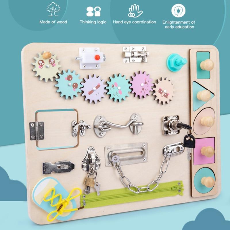 Обучающие игрушки Монтессори для детей, познавательные тренировочные шнурки для рук, завязывающая цепочка, разблокирующая головоломка, сп...
