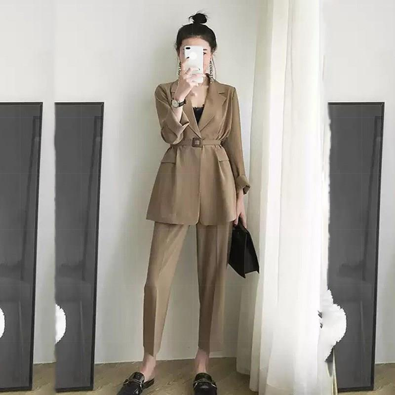 Elegant Notched Loose Women Suits Pockets Casual Blazer And Pants Set Belt Long Sleeve Formal Two Piece Set