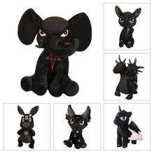 9 estilos killstar diabo boneca recheado de pelúcia coelho preto pentagrama elefante hydra anubis brinquedos boneca preta para crianças presente