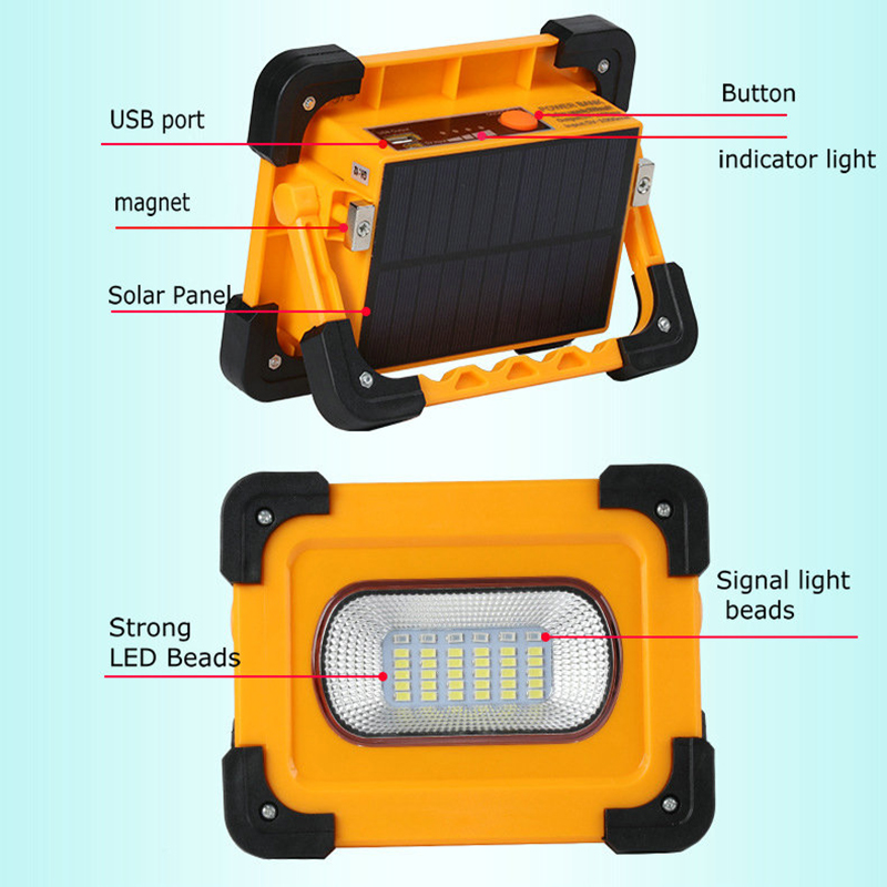 Multifunction Solar Emergency Lamp With USB Port Power Bank Function Dimming LED Floodlight Rechargeable Outdoor Camping Lamp