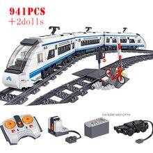 Cidade rc trem ferroviário técnico alimentado por bateria elétrica de alta velocidade ferroviário blocos de construção tijolos crianças brinquedos educativos presentes