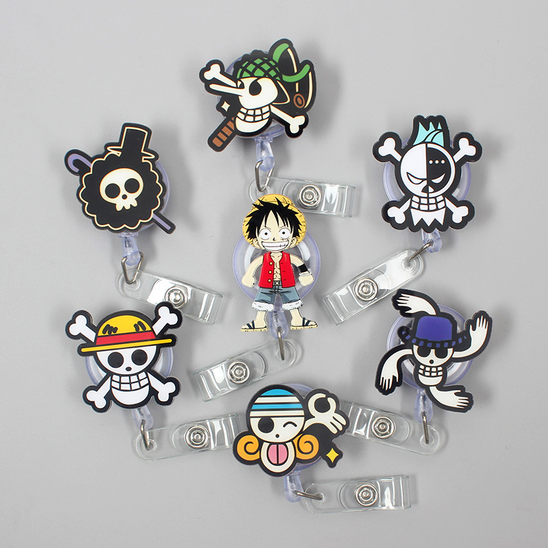 "1 Pc Creative ""One Piece"" Acrylic Retractable Badge Reel Nurse Doctor Student Exhibition ID Card Clips Badge Holder Stationery"