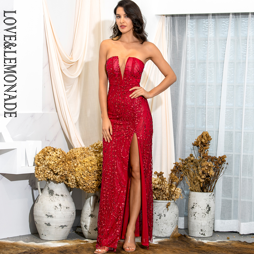 LOVE & LEMONADE Spring Tube Top Bodycon Red Glitter Glued Material Split Party Miax Dress LM82189 image