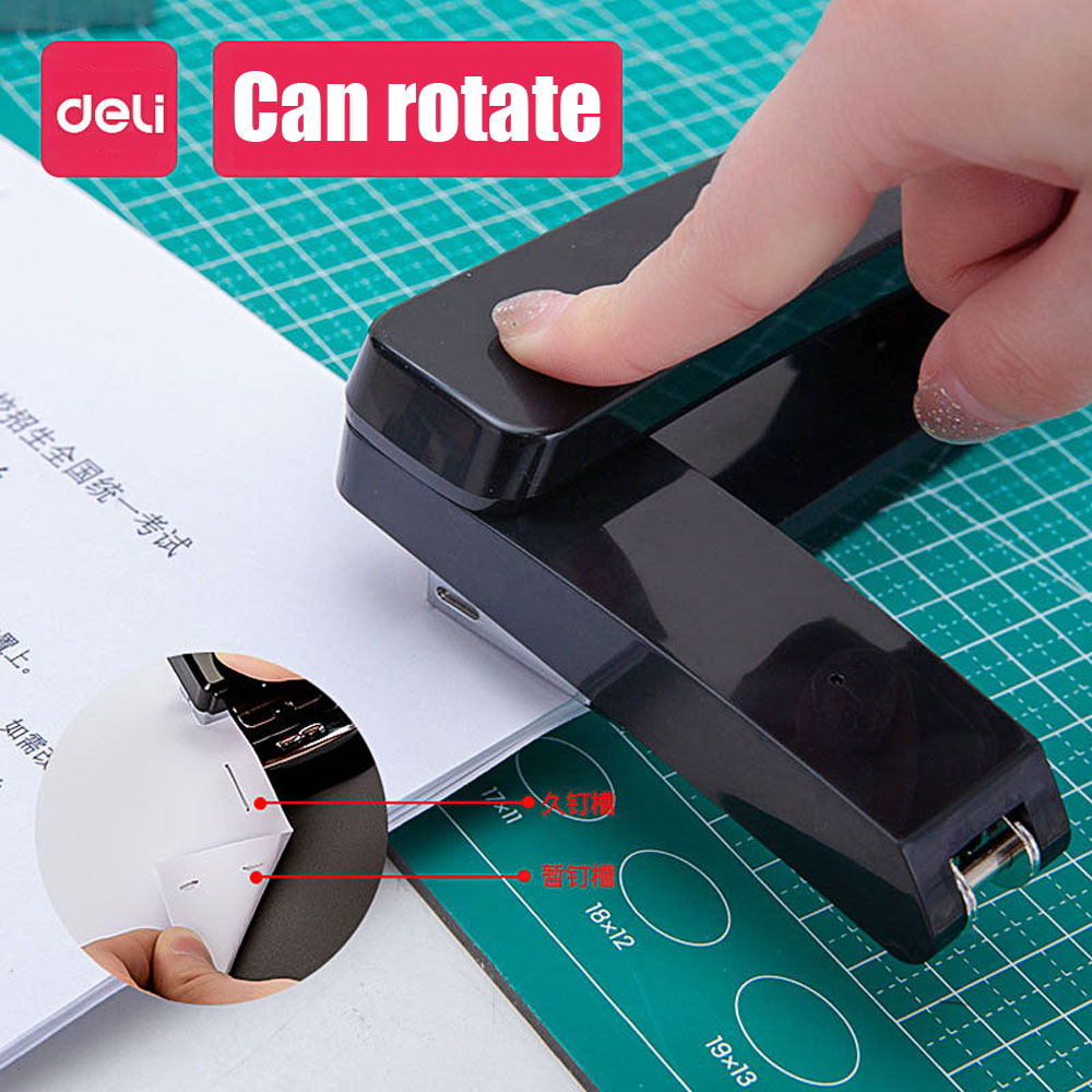 Deli Rotary Stapler Student Large Thicken #12 Standard Multi-function Office Supplies Small Staples Labor-saving Stapler Set
