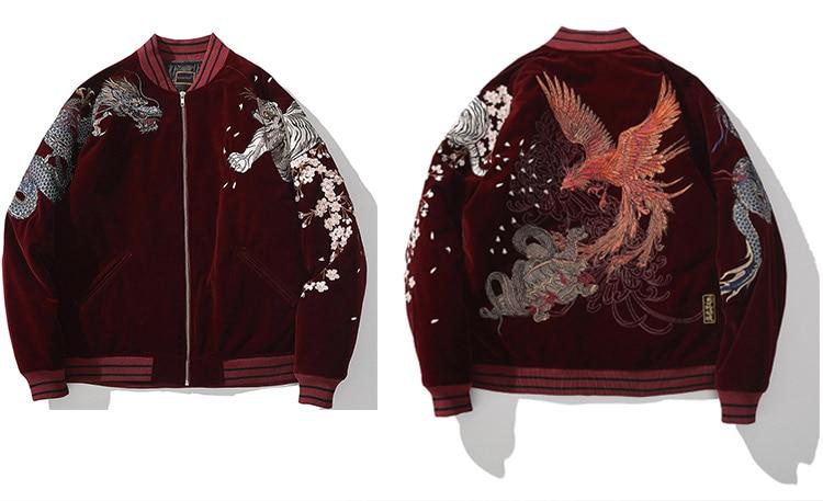 fênix, animal, bordado, casaco quente de inverno, retrô, roupa externa japonesa