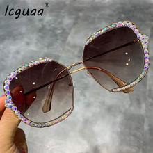Женские солнцезащитные очки брендовые дизайнерские с кристаллами