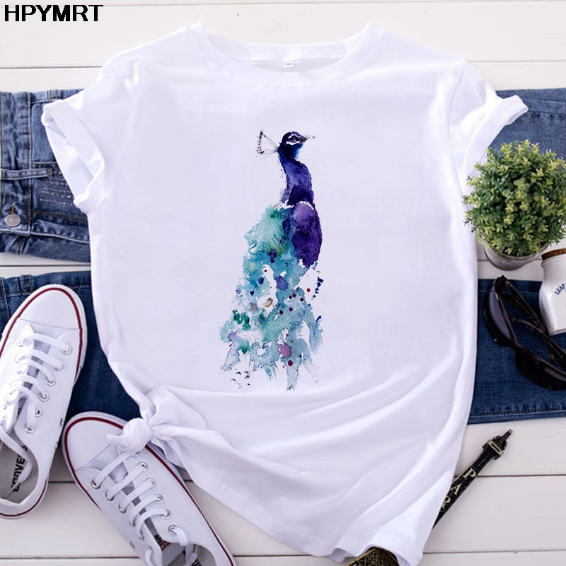 Летняя женская футболка с коротким рукавом, повседневная женская футболка в Корейском стиле с принтом павлина Harajuku, милые футболки с круглы...
