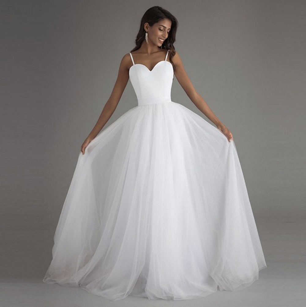 2019 A-Line Wedding Dresses Fashion Simple Backless Sling Cheap Long Bridal Gowns Tulle Beach Vestido De Noiva