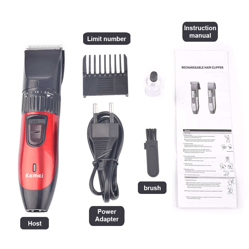 Kemei KM-730 recarregável seco duplo-uso clippers de cabelo profissional máquina de corte de cabelo para homens aparador de cabelo kit de corte de cabelo