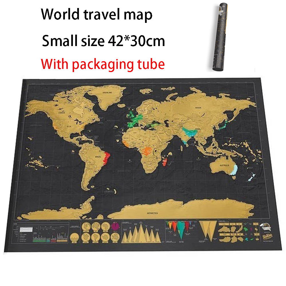 World Travel Map World Map Scratch Card Small Size 42*30cm Family Living Room Decoration Office Wall Sticker