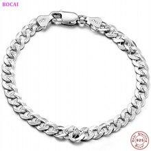 BOCAI 2020 new style fashion thai silver S925 pure silver man's bracelet 6mm 7mm