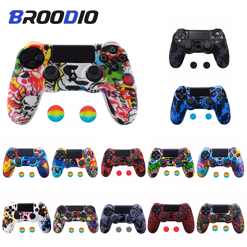 Anti-slip Silicone Camo Protective Skin Case For SONY Playstation 4 PS4 DS4 Pro Slim Gamepad Controller Protection Joystick Caps(China)