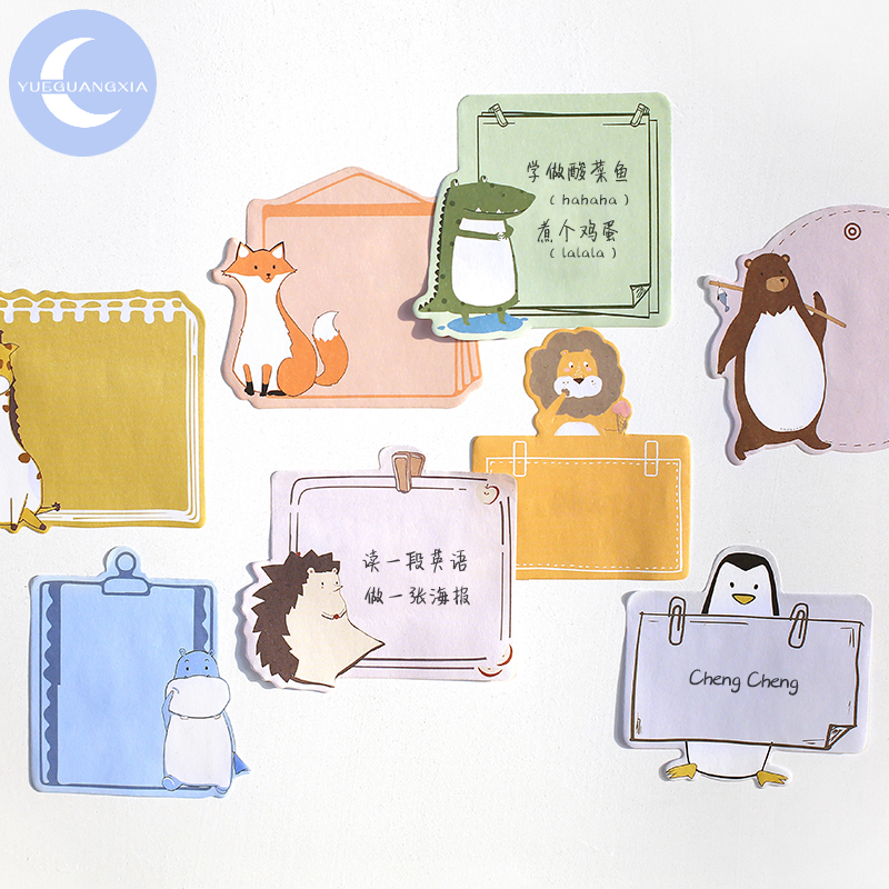 YueGuangXia Memo Pad Sticky Notes Japanese Kawaii Animal Diary Notepad Stationery Self-Adhesive Memo Pads Office School Supplies
